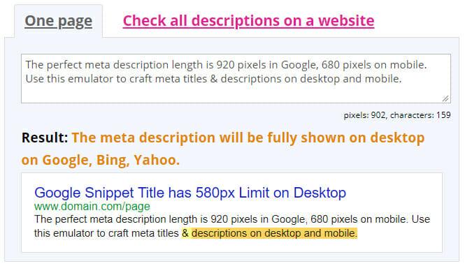 perfect meta description with 920 pixels in Spotibo emulator