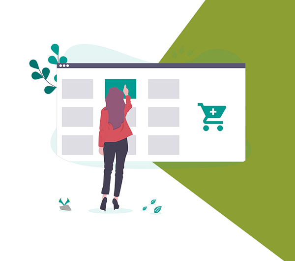 Graphic of woman shopping online