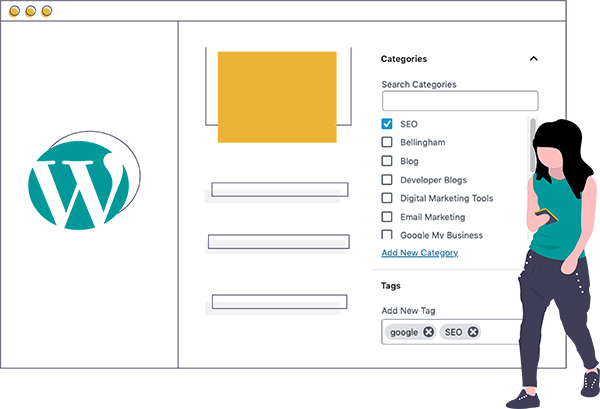 Graphic of woman standing next to a wordpress site learning abut categories and tags.