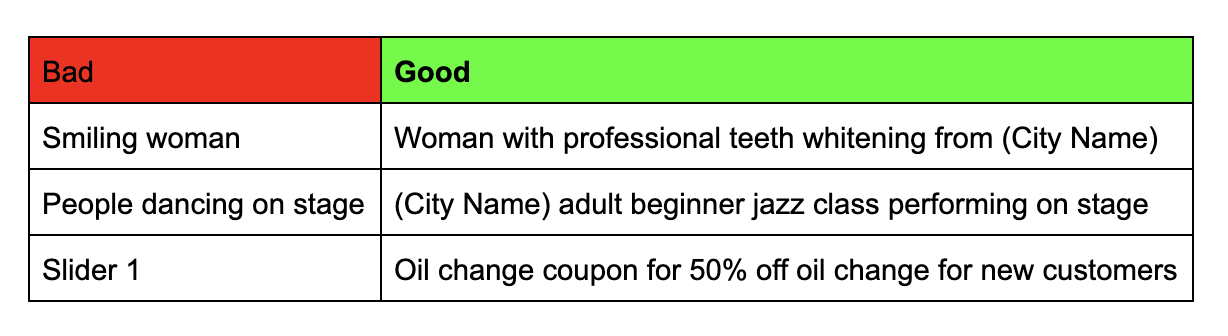 alt text smiling woman vs woman with professional teeth whitening from (City Name), people on stage vs (city name) adult beginner jazz class performing on stage, slider 1 vs oil change coupon for 50% off oil change for new customers